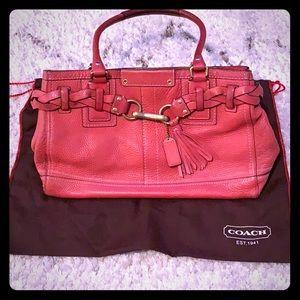 Coach pink, pebbled leather handbag